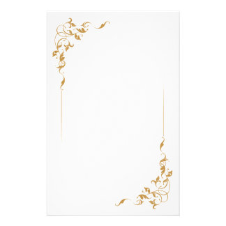 simple floral Golden Personalized Stationey Stationery