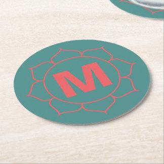Simple Floral Monogram Paper Coaster