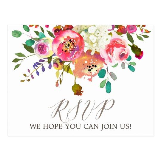 Simple Floral Watercolor Bouquet Menu Choice RSVP Postcard