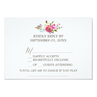 Simple Floral Watercolor Bouquet Song Request RSVP Card