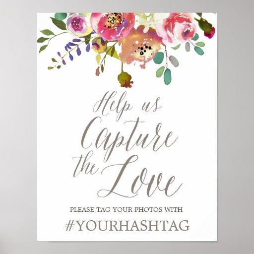Simple Floral Watercolor Bouquet Wedding Hashtag Poster