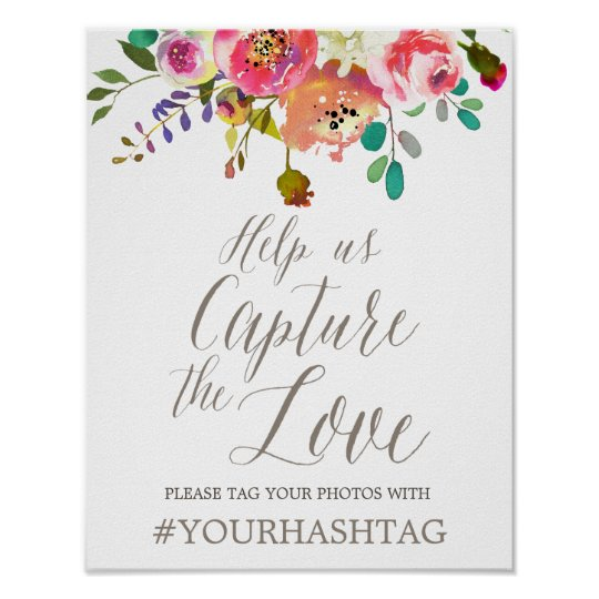 Simple Floral Watercolor Bouquet Wedding Hashtag Poster