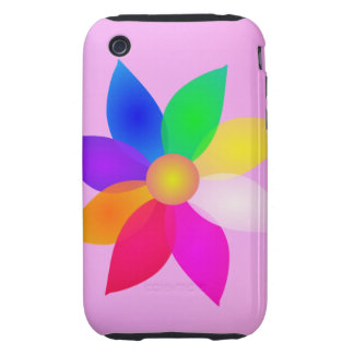 Simple Flower Art Pink Mist Tough iPhone 3 Case