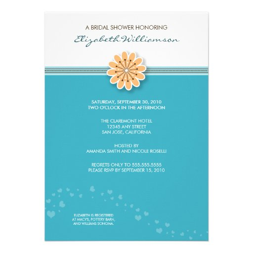 Simple flower bridal shower invitation aqua 13 cm x 18 for Flower bridal shower invitations