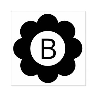 Simple Flower Monogram Rubber Stamp