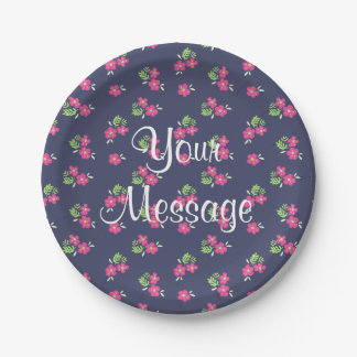 Simple flower pattern personalized navy plates