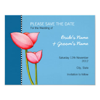 Simple Flowers blue 1 Save the Date Announcement