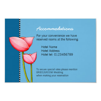 "Simple Flowers blue 1 Wedding Enclosure Card 3.5"" X 5"" Invitation Card"