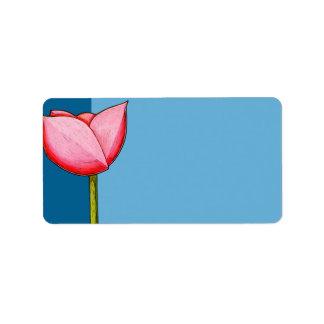 Simple Flowers blue Address Label