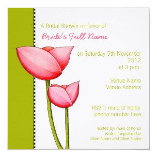 Simple Flowers green 2 Bridal Shower Invitation