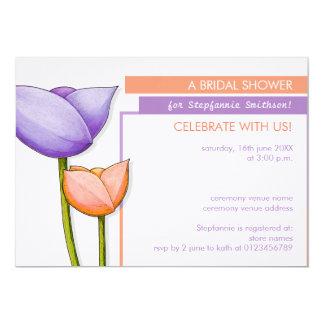Simple Flowers purple orange Bridal Shower Invite