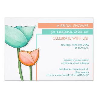 Simple Flowers teal orange Bridal Shower Invite
