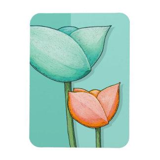 Simple Flowers teal orange Premium Magnet