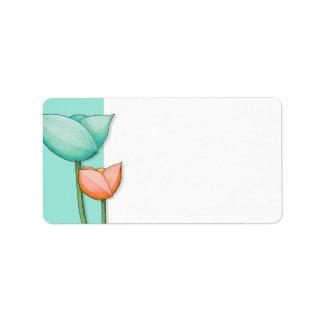 Simple Flowers teal orange white Address Label