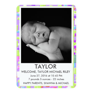 Simple Geo (Pink, Lime and Blue) Birth Announcemnt Card