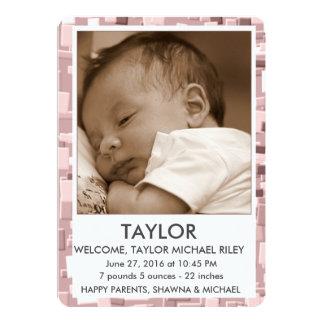 Simple Geo (Sepia) Birth Announcemnt 13 Cm X 18 Cm Invitation Card