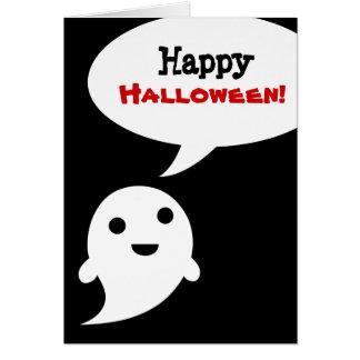 Simple Ghost Speech Bubble Happy Halloween Cards