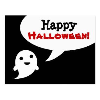 Simple Ghost Speech Happy halloween Post Card