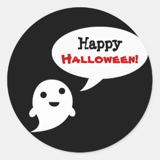 Simple Ghost Speech Happy halloween Round Sticker