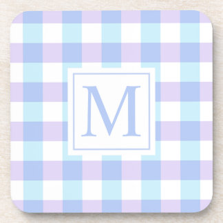 Simple Gingham Monogram | Coaster