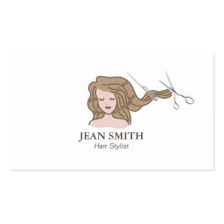 Simple Girl Hair Stylist Business Cards