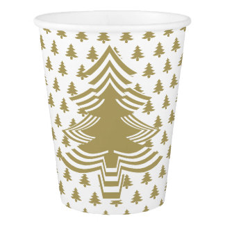 Simple Gold and White Christmas Tree Font Pattern Paper Cup