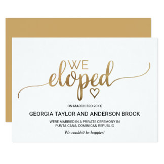 Simple Gold Calligraphy Elopement Announcement