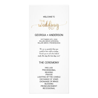 Simple Gold Calligraphy Wedding Program Rack Card