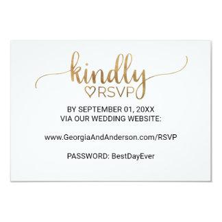 Simple Gold Calligraphy Wedding Website RSVP Card