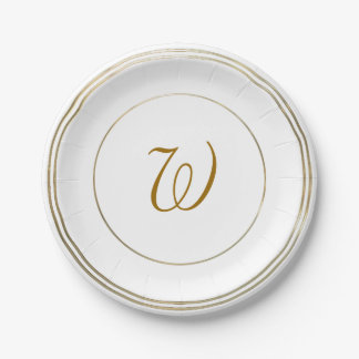 "Simple Gold Circles and Monogram Template 7"" Paper Plate"