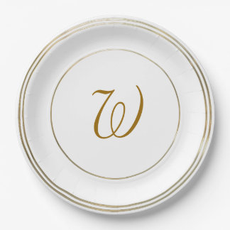 Simple Gold Circles and Monogram Template Paper Plate