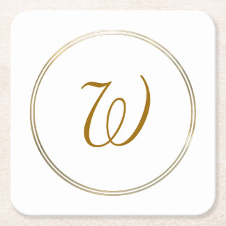 Simple Gold Circles and Monogram Template SQ Square Paper Coaster