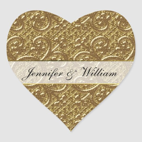Simple Gold Elegance Heart Custom Wedding Sticker