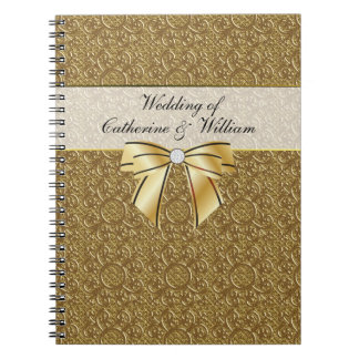 Simple Gold Elegance Wedding Guest Sign In Notebook