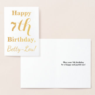 Simple Gold Foil 7th Birthday + Custom Name Foil Card