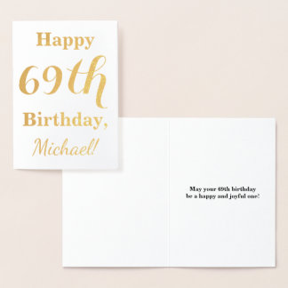 "Simple Gold Foil ""HAPPY 69th BIRTHDAY"" + Name Foil Card"