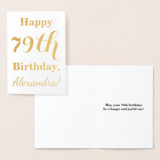 "Simple Gold Foil ""HAPPY 79th BIRTHDAY"" + Name Foil Card"