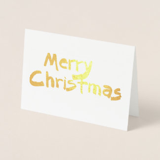 simple gold foil Merry Christmas card