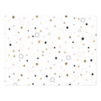 Simple gold foil pink grey confetti polka dots postcard