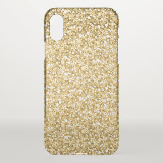 Simple Gold Glitter And White Sparks iPhone X Case