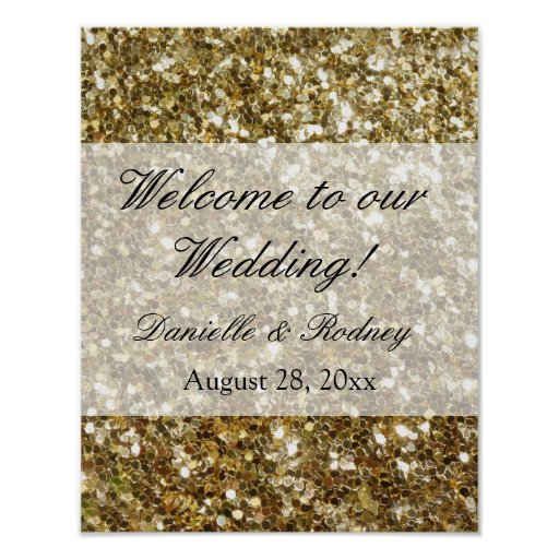 Simple Gold Glitter Printed Wedding Poster