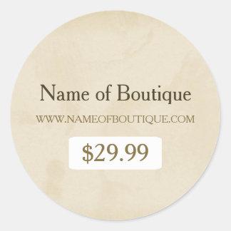 Simple Gold Grunge Modern Boutique Price Tags Round Sticker