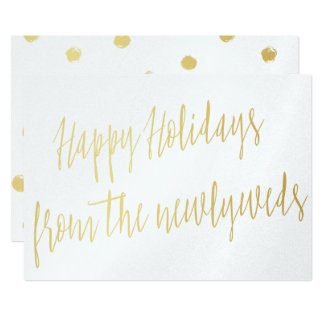 "Simple gold ""Happy Holidays from the newlyweds"" Card"