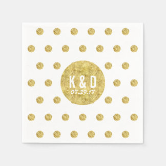 Simple Gold Polka Dots Modern Wedding Disposable Napkins
