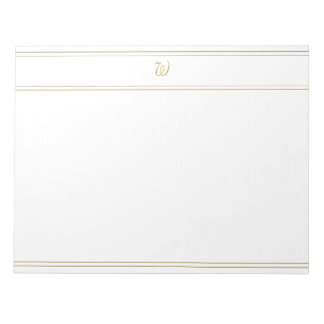 Simple Gold Stripes and Monogram Template Notepad
