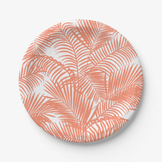 Simple gold tropical coral chic palm tree floral 7 inch paper plate