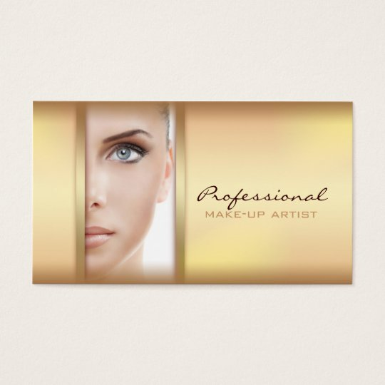 Simple Gold Woman Face Make-up Artist Card