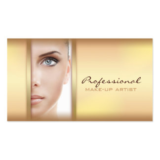 Simple Gold Woman Face Make-up Artist Card Pack Of Standard Business Cards