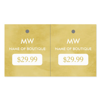 Simple Goldenrod Chic Boutique Monogram Hang Tags Business Card Templates