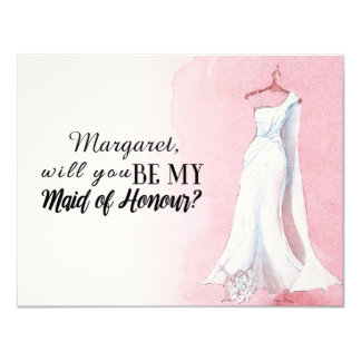 "Simple Gown ""Will you be my maid of honour"" Card"